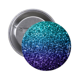 Beautiful Aqua blue Ombre glitter sparkles 6 Cm Round Badge