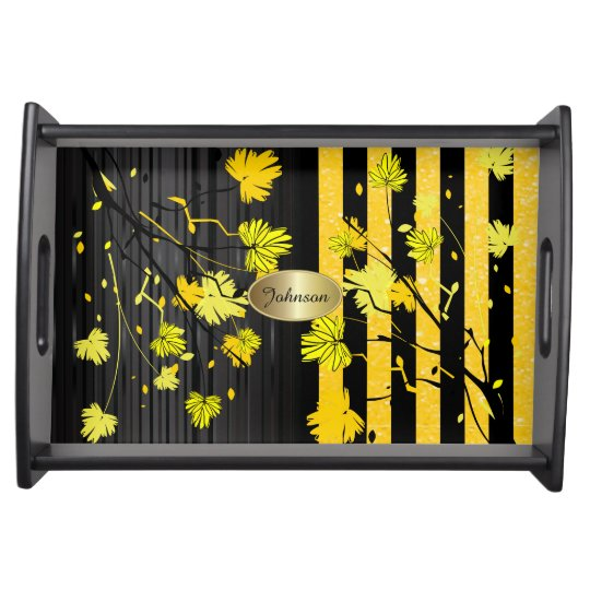 Beautiful Art Deco Yellow & Black Floral DIY