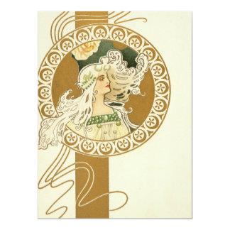Beautiful Art Nouveau Girl 17 Cm X 22 Cm Invitation Card