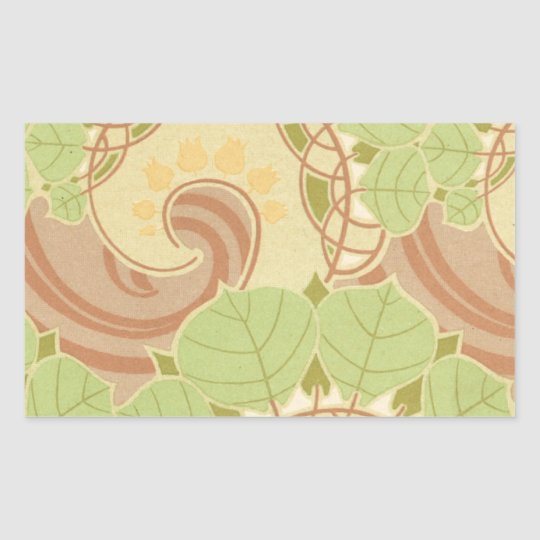 beautiful art nouveau swirly leaves pattern art rectangular sticker