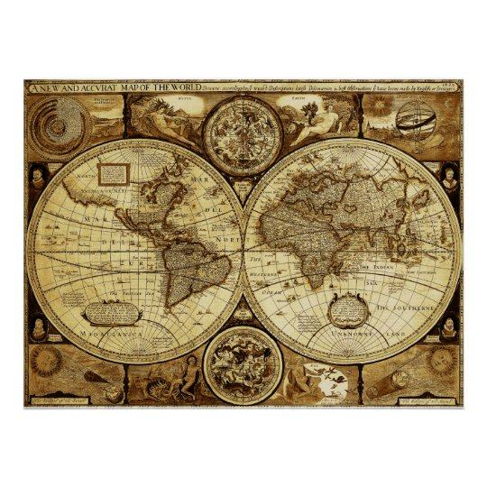 Beautiful art of Vintage and Antique world Map