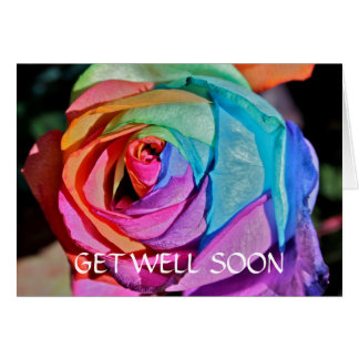 Beautiful artificially coloured Rose Get Well Soon Card