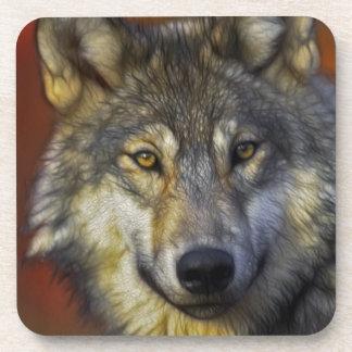 Beautiful artistic grey wolf portrait beverage coasters