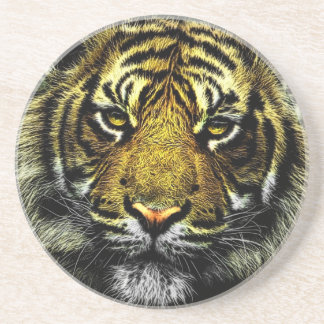 Beautiful artistic tiger portrait drink coaster