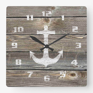 Beautiful authentic looking Wood Rustic Nautical Square Wall Clock
