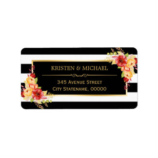 Beautiful Autumn Floral Gold Black White Stripes Address Label