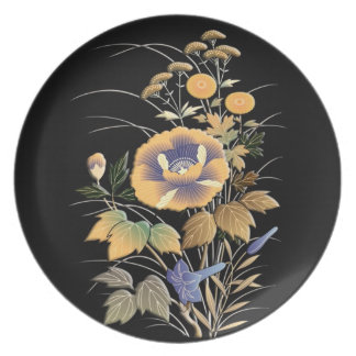 Beautiful autumn flowers plate