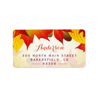 Beautiful Autumn Gold Red | Rustic Fall Leaves Address Label