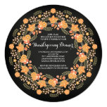 Beautiful Autumn Leaf Wreath Thanksgiving Dinner 13 Cm X 13 Cm Square Invitation Card