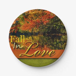 Beautiful Autumn Photo Fall In Love Wedding Rustic 7 Inch Paper Plate