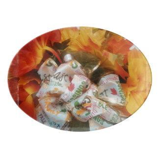 """""""Beautiful Autumn"""" Porcelain Coupe Platter Porcelain Serving Platter"""