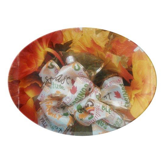 """""""Beautiful Autumn"""" Porcelain Coupe Platter Porcelain"""