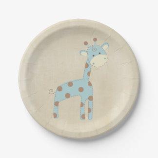 Beautiful Baby Blue Giraffe Paper Plate