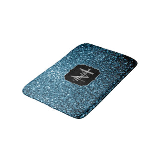 Beautiful Baby blue glitter sparkles Monogram Bath Mat