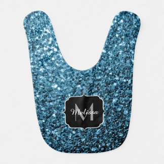 Beautiful Baby blue glitter sparkles Monogram Bib