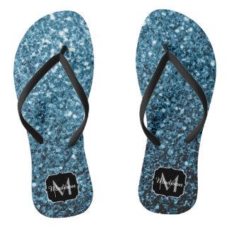 Beautiful Baby blue glitter sparkles Monogram Flip Flops