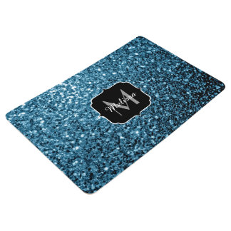 Beautiful Baby blue glitter sparkles Monogram Floor Mat