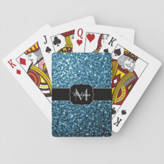 Beautiful Baby blue glitter sparkles Monogram Playing Cards