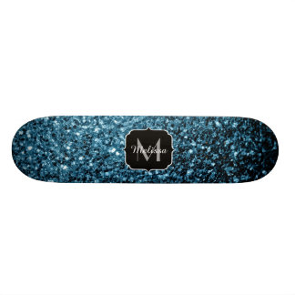 Beautiful Baby blue glitter sparkles Monogram Skateboard Decks