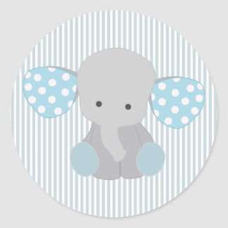 Beautiful Baby Boy Blue Elephant Classic Round Sticker