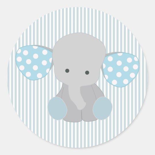 Beautiful Baby Boy Blue Elephant Classic Round Sticker