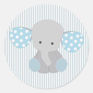 Beautiful Baby Boy Blue Elephant Round Sticker