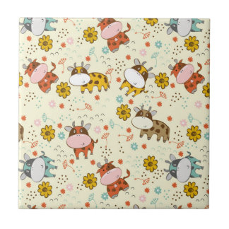 Beautiful Baby Cow Pattern Small Square Tile