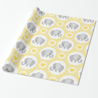 Beautiful Baby Elephant Neutral Yellow Wrapping Paper