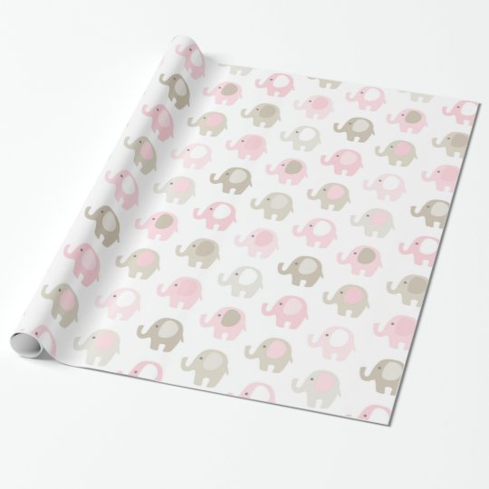 Beautiful Baby Elephant Pattern Wrapping Paper