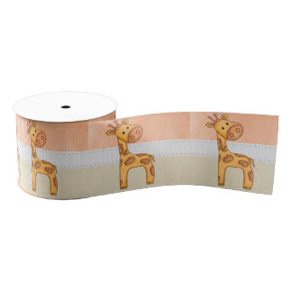 Beautiful Baby Giraffe Grosgrain Ribbon