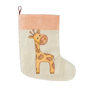 Beautiful Baby Giraffe Large Christmas Stocking