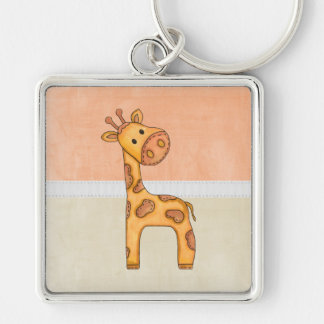 Beautiful Baby Giraffe Silver-Colored Square Key Ring