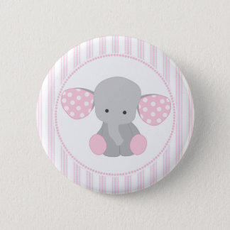 Beautiful Baby Girl Pink Elephant 6 Cm Round Badge