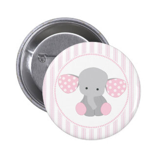 Beautiful Baby Girl Pink Elephant 6 Cm Round Badge