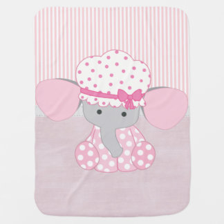 Beautiful Baby Girl Pink Elephant Buggy Blanket