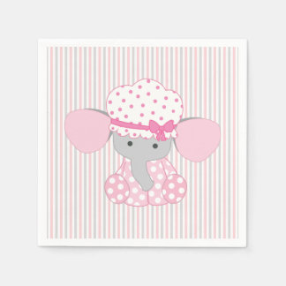 Beautiful Baby Girl Pink Elephant Disposable Napkin
