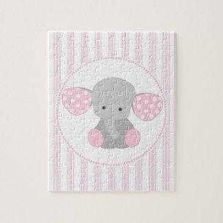 Beautiful Baby Girl Pink Elephant Jigsaw Puzzle