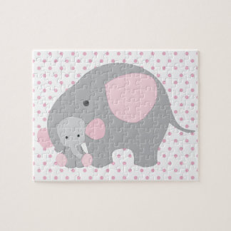 Beautiful Baby Girl Pink Elephant Jigsaw Puzzle