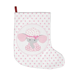 Beautiful Baby Girl Pink Elephant Large Christmas Stocking