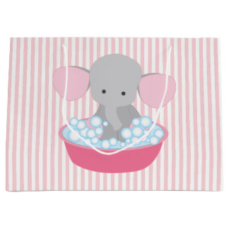 Beautiful Baby Girl Pink Elephant Large Gift Bag
