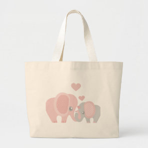 Beautiful Baby Girl Pink Elephant Large Tote Bag