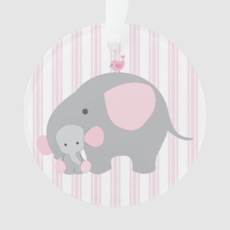 Beautiful Baby Girl Pink Elephant Ornament
