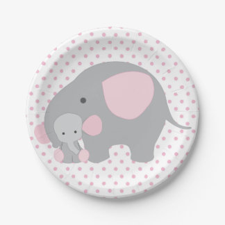 Beautiful Baby Girl Pink Elephant Paper Plate
