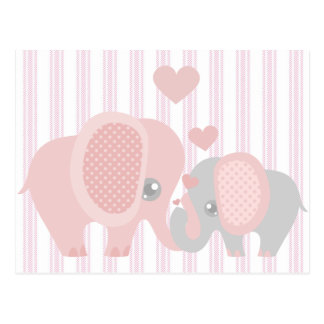 Beautiful Baby Girl Pink Elephant Postcard