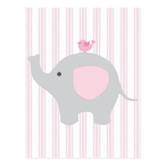 Beautiful Baby Girl Pink Elephant Postcard