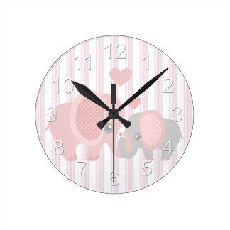 Beautiful Baby Girl Pink Elephant Wall Clocks