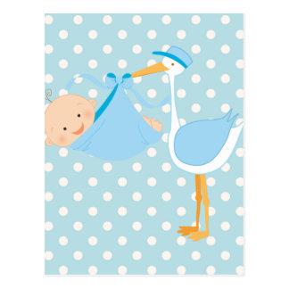 Beautiful Baby It's A Boy Stork Postcard