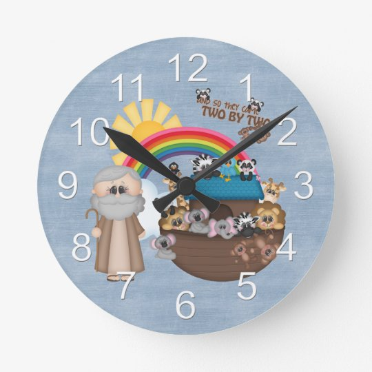 Beautiful Baby Noah's Ark Round Clock