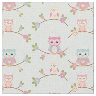 Beautiful Baby Owl Pattern Fabric