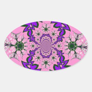 Beautiful baby pink floral purple shade motif mono oval sticker